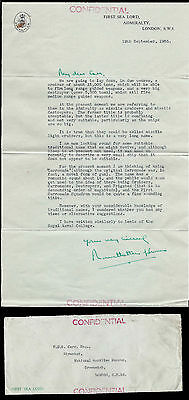 Lord Louis Mountbatten of Burma Signed Letter Admiral of Fleet First Sea Lord
