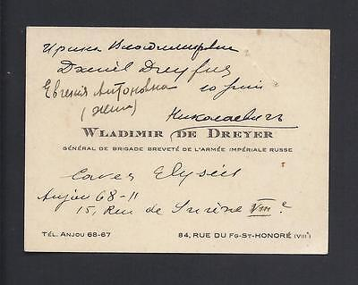 Russian Imperial Army Civil War General de Dreyer Annotated Antique Calling Card