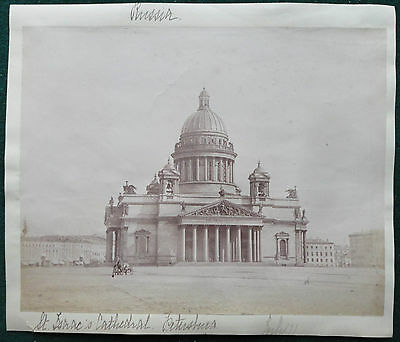 St Isaac's Cathedral St Petersburg Imperial Russia Antique Albumen Photo 1880s