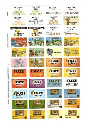 Coke Coca Cola Advertising Stickers  Sheet Of 44  Honest Tea Peace Tea  Fuze