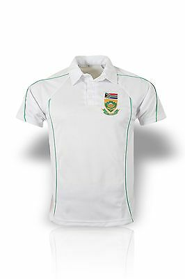 High Quality White Cricket Shirt South Africa Logo Short Sleeve 42-44 In Large