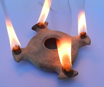 Biblical Oil lamp HolyLand Ancient Antique Roman Terracotta Clay Menorah Pottery