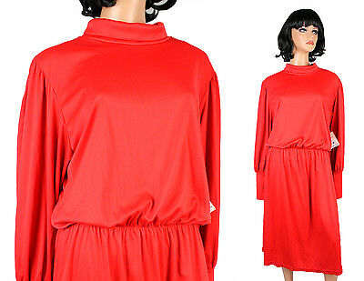 c70451f13e 80s Secretary Dress 20 XXL 2X Vintage NOS Red Long Sleeve Turtleneck  Stretchy