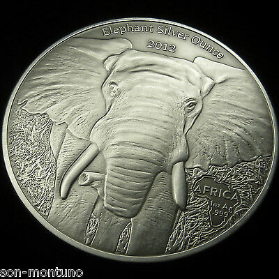 2012 GABON Silver Ounce ELEPHANT in Mint Capsule 1oz Antique Finish African Coin