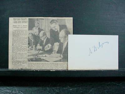 NobleSpirit NO RESERVE {3970}Statesmen Anatoly Dobrynin and Dean Rusk Signatures