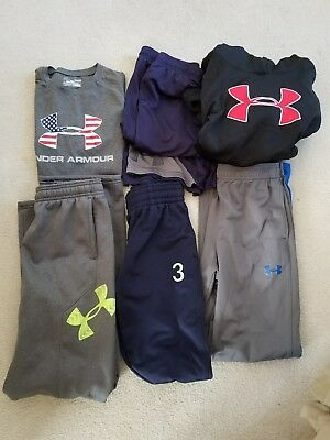 Under Armour Boys Tops/bottoms Size Ylg Large Lot Of 6!