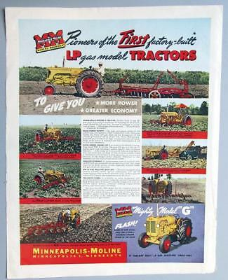 Original 1952 Minneapolis Moline Tractor Ad  Model G Now Available in LP Fuel