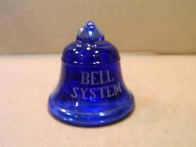 Bell System Blue Glass Paperweight Insulator Vintage