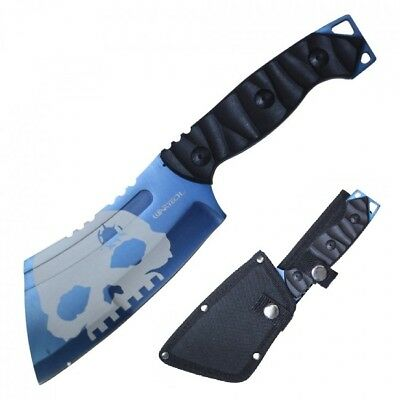 """Tactical Knife Wartech 9.5"""" Overall Blue Skull Full Tang Military Combat Cleaver"""