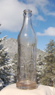 Old embossed GRIZZLY BEAR soda bottle MISSOULA MONTANA w/ pic Grizzly bear!