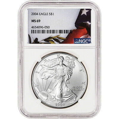 2004 American Silver Eagle - NGC MS69 - Flag Label