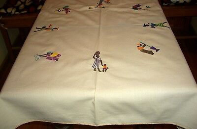 Vintage Cotton Tablecloth Hand Embroidered African Theme