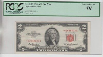 Legal Tender $2 Red Seal 1953-A STAR PCGS Graded ef 40