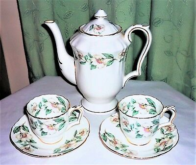 Vintage C1930's Crown Staffordshire 'christmas Roses' Coffee Pot, Cups & Saucers