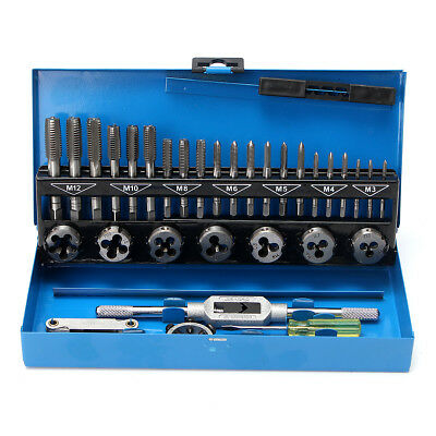 32Pc Tap And Die Set Metric Wrench Cut M3-M12 Bolts Engineer Kit With Metal Case