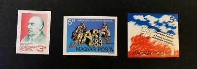 Hungary Scott No. 3170,3172,3178 MNH Imperforate Imperf Imp Stamps of 1989