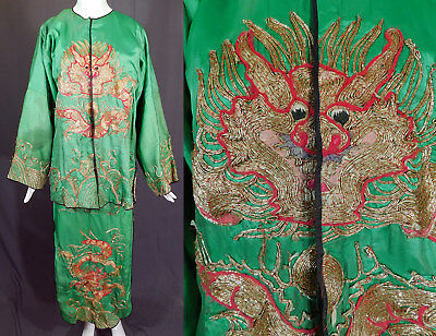 Vintage Antique Chinese Dragon Gold Couching Embroidery Opera Robe Skirt Costume