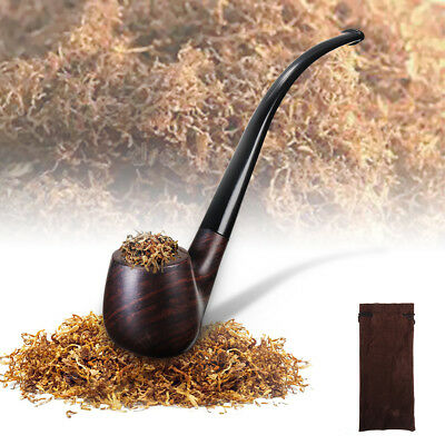 Durable Ebony Wood Handle Men High-ended Smoking Tobacco Cigarettes Cigar Pipe