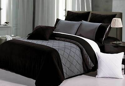 SUPER KING size Arist Black Quilt Cover Set 3pcs pintuck grey doona cover set