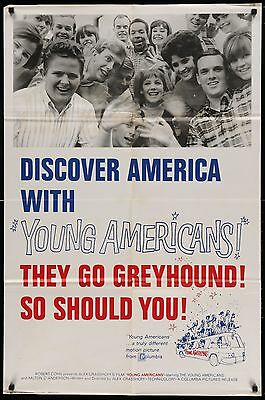 YOUNG AMERICANS GREYHOUND BUS PROMO Original 1967 1-SHEET MOVIE POSTER
