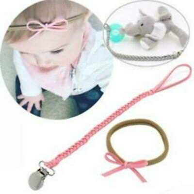 Baby Braided Pacifier Clips Holder Faux Leather Chain Strap+ Bow Headband B