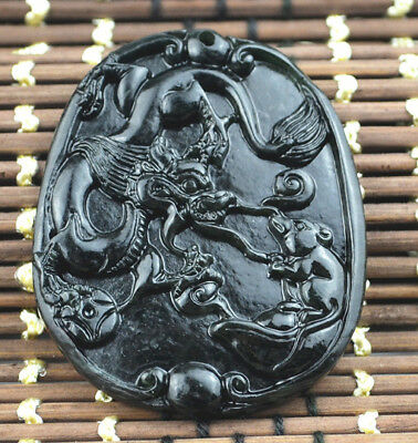Chinese natural black green jade jadeite pendant necklace  Dragon mouse Battle