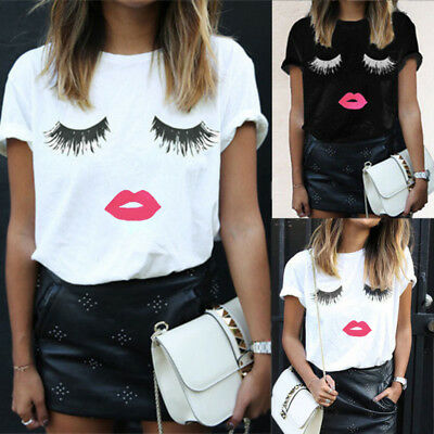 Mode Frauen Damen Sommer Wimpern Lippen Kurzarm Casual Lose T-Shirt Tops Bluse