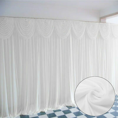3X3M White Stage Wedding Party Backdrop Photography Background Drape Curtain ❤️