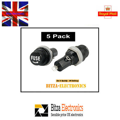 5Pcs Panel Mounted 5 x 20mm Fuse Holder - UK Seller