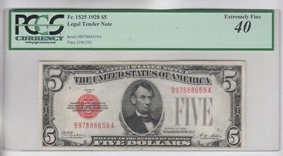 Legal Tender $5 Red Seal 1928 PCGS Graded ef 40 minor stains