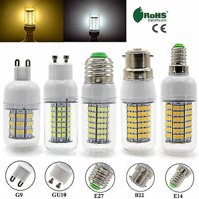 Dimmable B22 BC E27 ES E14 GU10 G9 LED Corn Bulbs SMD Day Warm White Light Lamp