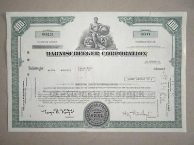 Harnischfeger Corporation USA historische Wertpapiere Aktien 1973