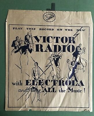 1930s Vintage RCA 78 Record Advertising Store Display Paper Bag Sleeve Deco