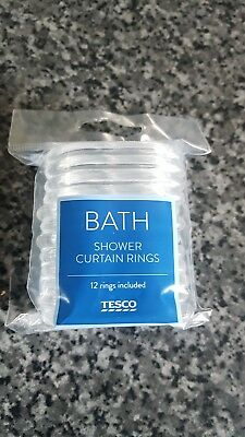 New Pack of 12 Shower Curtain Rings Bathroom Accessory