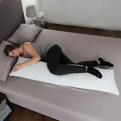 Memory Foam Body Pillow Side Sleepers Aching Legs RLS Zippered Cooling Cover