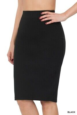 Pencil skirt high waist midi knee length straight career cotton stretch S-M-L-XL