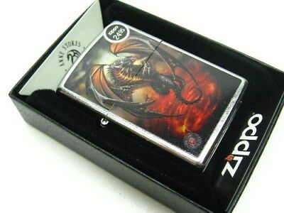 Zippo Full Size Street Chrome Anne Stokes Dragon Windproof Lighter 29349