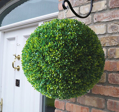 Best Artificial 40cm Lush Long Leaf Boxwood Buxus Topiary Grass Hanging Ball New