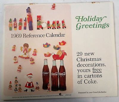 Vintage 1969 Coke Coca-Cola Holiday Greetings Reference Calendar 1960's Mod Art