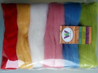 Summer set* Pure Wool Tops for Wet and Needle Felting, Packs of 6 colours; 60g