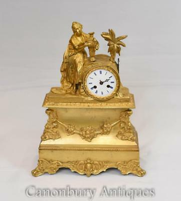 French Empire Gilt Mantel Clock Ormolu Maiden