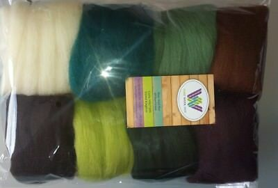 Outdorsy & Natural set* Pure Wool Tops for felting 8 colours;  80g