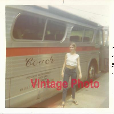 Girl Wearing a Crop Top Getting off the Bus Vintage 1970 Vernacular Snapshot