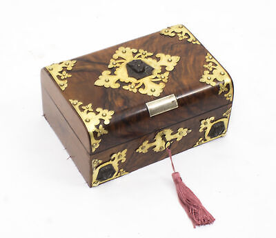 Antique Victorianl Empire Revival Burr Walnut Casket Sewing Box C1860