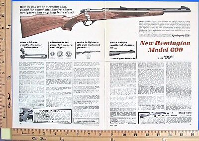 1964 REMINGTON New Model 600 bolt carbine hunting rifle 2-Page Vtg Print Ad 7283