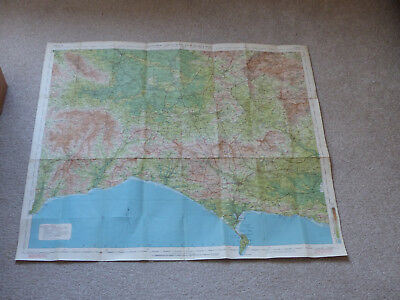 Vintage Bartholomew's Revised Half-Inch Contoured Map Dorset Cloth Vg Con Canvas
