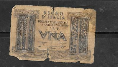 Italy #26 1939 Ag Circulated Old Wwii Lire  Banknote Paper Money Currency Note