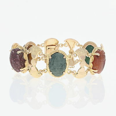 "Multi-Gemstone Scarab Beetle Bracelet - 6 3/4"" -18k Yellow Gold Chalcedony Egypt"