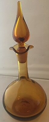 "Hand Blown Glass Amber yellow gold Decanter 13"" w/ Tear Drop Flame Stopper MCM b"