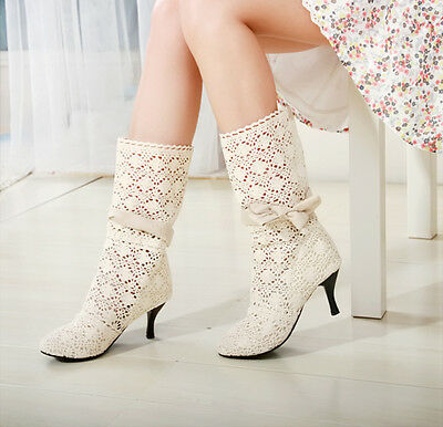 New Women's Hollow Out Knitting Mid Heel Casual Mid-Calf Boots Fashion Shoes wi